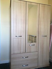 3 door light oak wardrobe