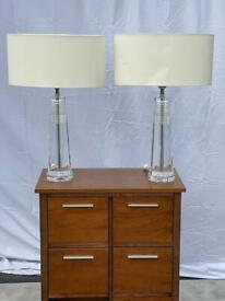 Luxury Perspex Table Lamps x2 - RRP £690