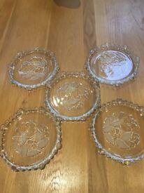 Glass serving platter x 5