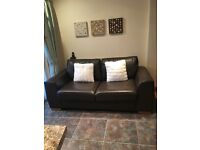 Brown leather Marks & Spencer sofa bed