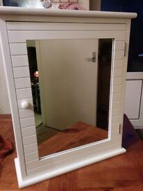 A White Mirrored Modern good size bathroom Cabinet