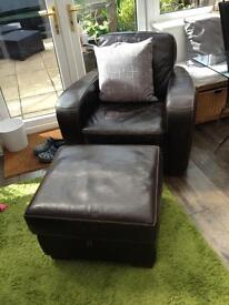 Arm chair and pouffe
