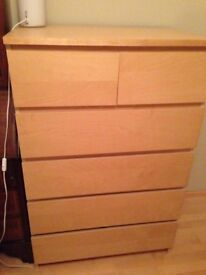 large 6 draw chest of drawers x 2