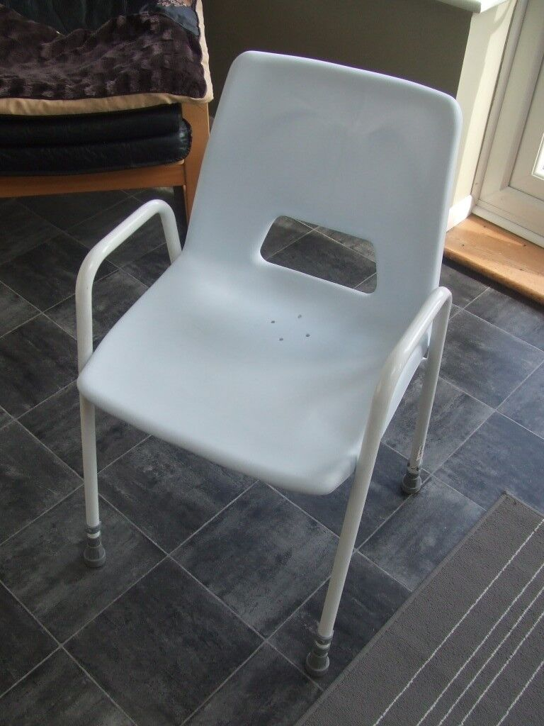 White Aidapt Milton Adjustable Height Shower Chair VB499 Mobility ...
