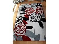 HANAKO YOKO LARGE WHITE BLACK GREY RED RUG 230CM X 150CM £250