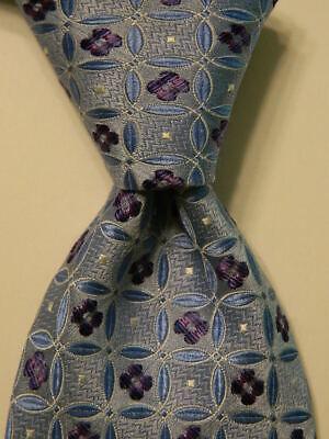 IKE BEHAR Men's 100% Silk Necktie USA Designer Geometric Blue/White/Purple EUC