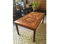 Vintage Retro Mid Century Danish Teak & Tile 'Sunburst' Coffee Table