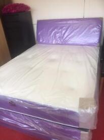 Purple fabric double divan bed