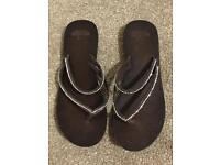Hollister Women's Double Strap Sandals Flip Flops Brown Size Large