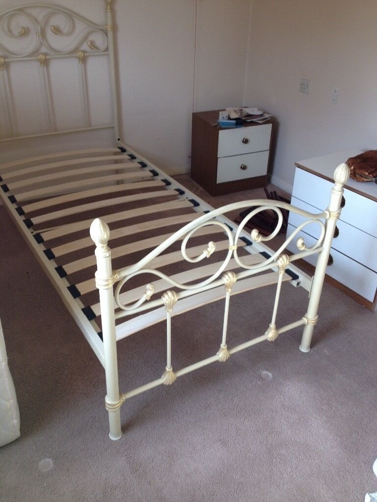 Pretty single bed frame, cream and gold. In good condition ...