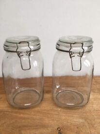 KILNER STYLE GLASS AIRTIGHT STORAGE JARS / CANNISTERS