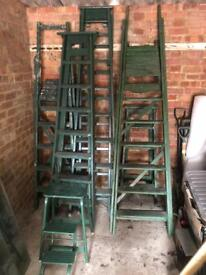 Selection of wooden ladders x7, plus steps