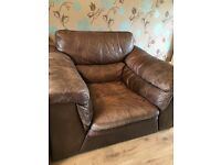 2 lovely brown leather armchairs ,a little wear on but perfect for a smaller room