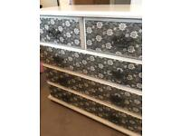 Chest of drawers & bedside drawers - unique patterned front