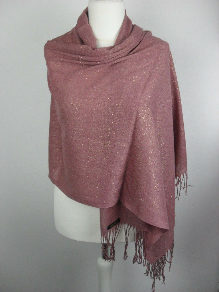 Pashmina Schal Tuch Stola Hijab 100% Viskose Altrosa Glitzer Gold 183x70cm