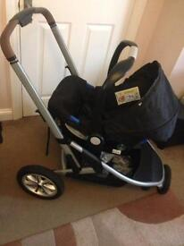 Mothercare xpedior travel system with coral colour pack