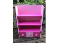 Children's pink shelving and storage unit. Three shelves and 3 box drawers. Perfect for play/bedroom
