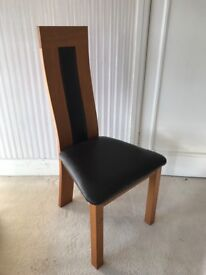 6 x Oak dining chair with brown leather seat pad and back inlay