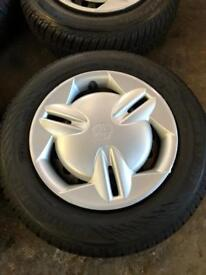 Toyota Yaris steel wheels and tyres with trims