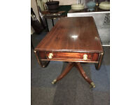 Lovely Antique Georgian Solid Mahogany Drop Leaf Kitchen Dining Table