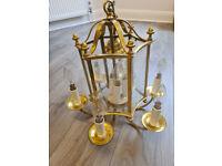 Vintage Brass Lantern Light Fitting with Glass Panels