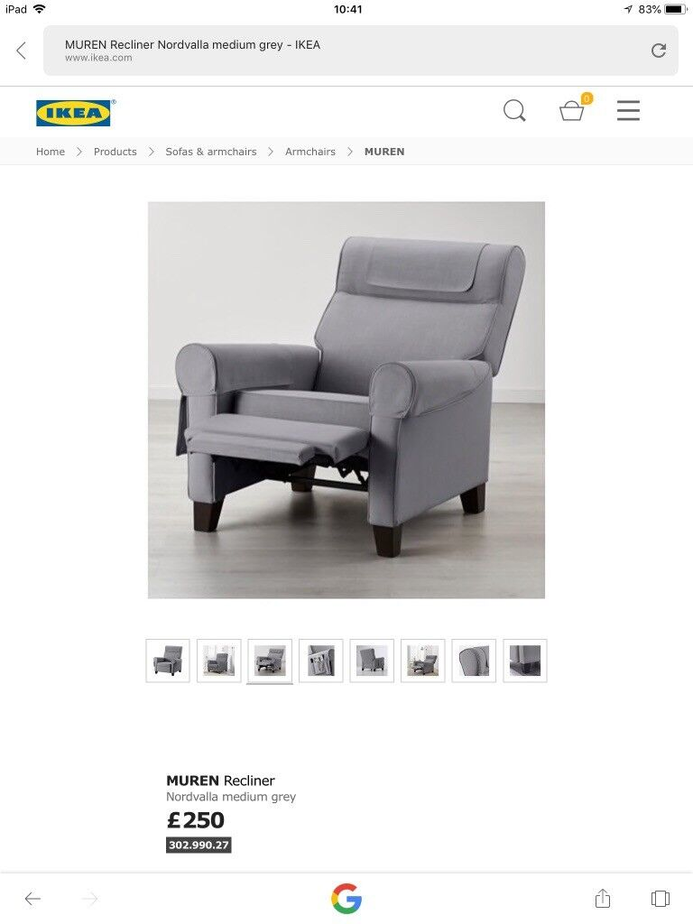 Strange Gray Ikea Moran Reclining Arm Chair In Reading Berkshire Gumtree Unemploymentrelief Wooden Chair Designs For Living Room Unemploymentrelieforg