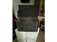 Hinged Wicker Storage Chest