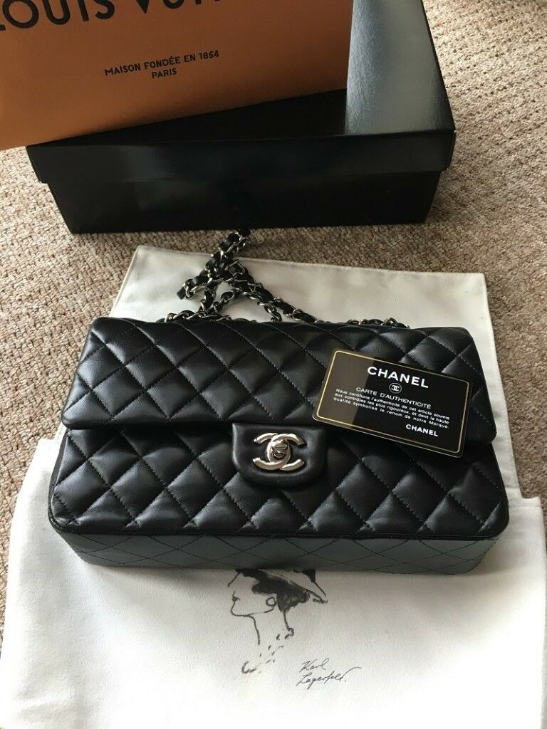 0e8bb5959cb86 Chanel Classic Flap Medium Black Lambskin with Gold Hardware (Double Flap)