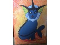 Pokemon painting. Acrylic on canvas painting of Vaporeon, handcrafted and one of a kind