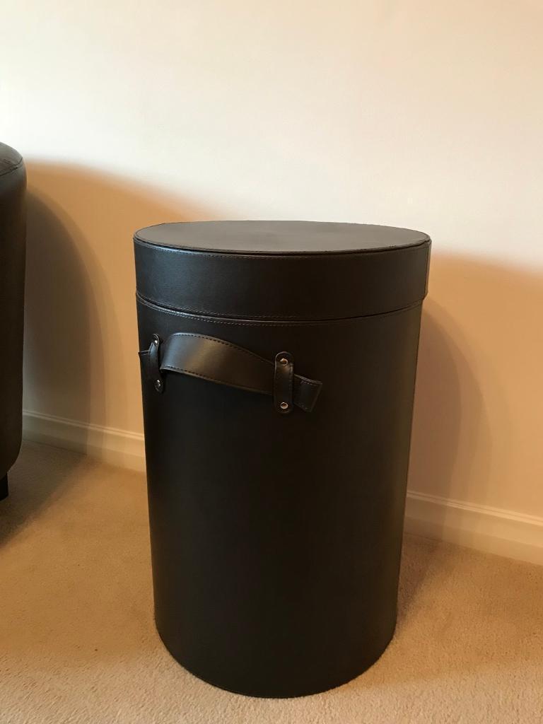Brown faux leather linen bin