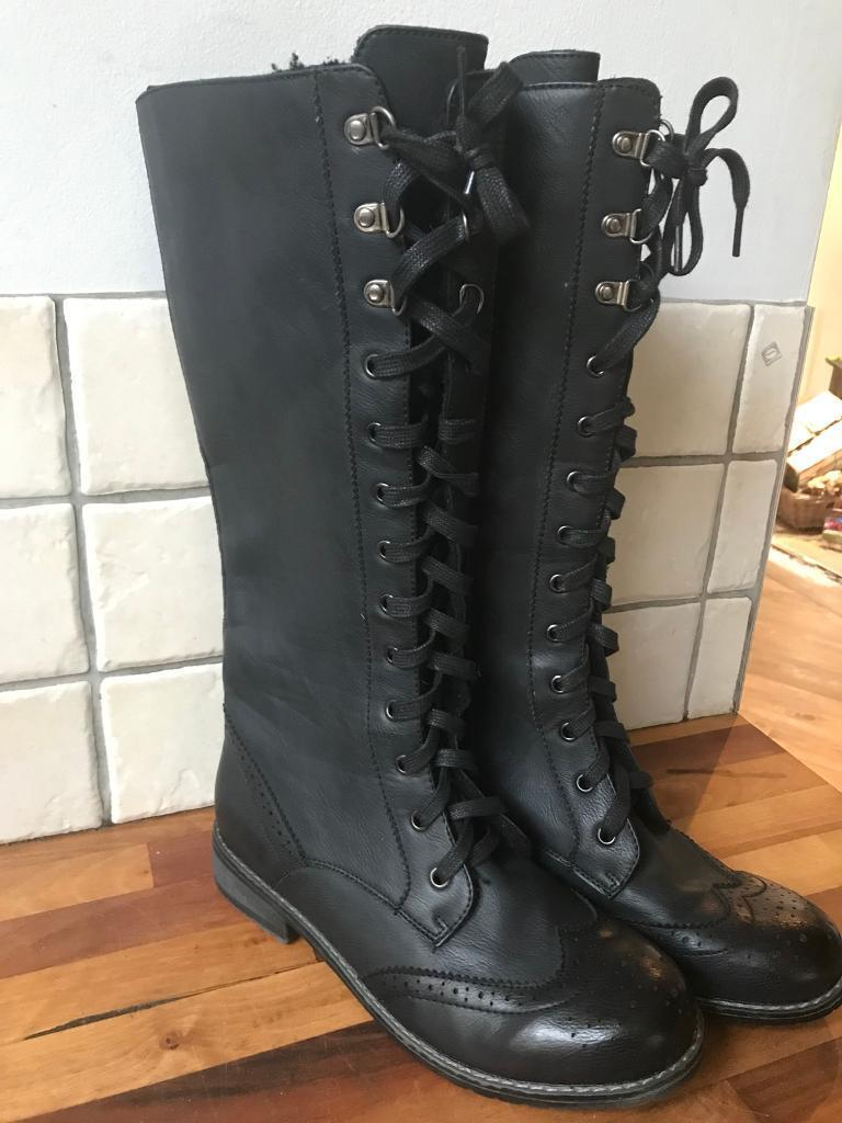 Ladies Next Knee High Lace Up Biker Style Boots Size 6.5