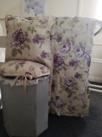 Lloyd loom style linen basket with new Cream/ lilac floral curtains & matching cushion £10 the lot
