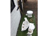 charlton Bathroom high toilet .. basin and pedestal, vintage taps