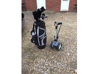 Golf clubs, golf trolley, golf bag and accessories.