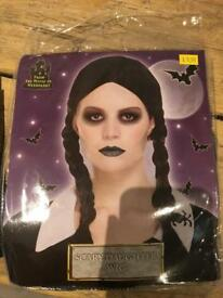 Wednesday Adams Halloween black wig