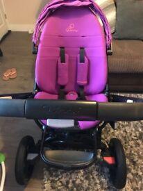 Purple Quinny Moodd, Carrycot, Maxi Cosi Car Seat