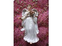VINTAGE TRADITIONS CHRISTMAS ANGEL ORNAMENT INCENSE Large Porcelain Figurine White & Gold Decoration