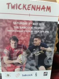 ARMY V NAVY RUGBY TICKET FOR BABCOCK TROPHY TWUCKENHAM THUS SATURDAY 5 TH MAY 3PM K/O