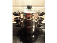 Stainless Steel 3 tier steamer with glass lid