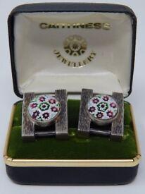 RARE Paul Ysart Silver Caithness Cufflinks Hallmarked Birmingham 1970 in Original Box