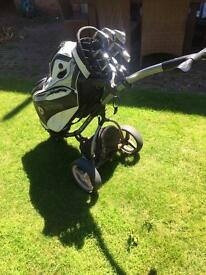 Motokaddy leather golf bag and motokaddy S3 trolley
