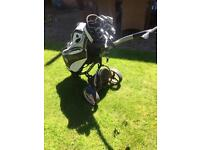 Motokaddy leather golf bag and motokaddy S3 trolley