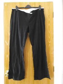 New/unworn black cotton M&S jogging bottoms, size 20/medium length with white detailing on waistband