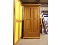 Solid Pine, 2 door, 2 drawer wardrobe, antique pine finish, very solid wardrobe, excellent condition