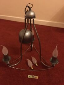 IKEA PEWTER COLOUR 3 BULB PENDENT CEILING LIGHT COMPLETE WITH 5 BULBS AND FITTINGS