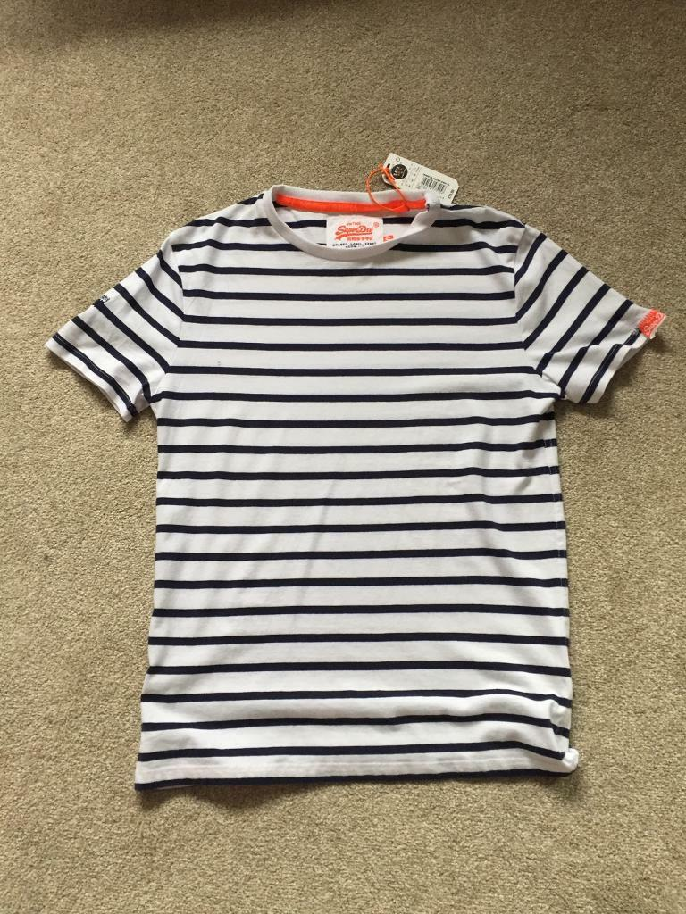 Superdry t shirt striped blue and white
