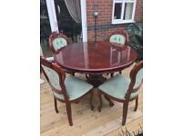 FRENCH LOUIS ROUND TABLE AND FOUR CHAIRS