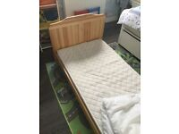 Toddler bed pine with mattress & bedding