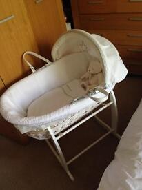 Claire De Lune white Wicker Moses basket with stand and extra mattress and bedding