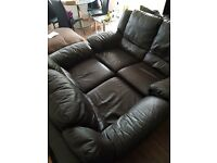 2 x Brown Leather Electric Reclining Sofas For Sale